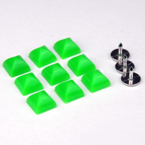 7st Studs Vierkant 7mm Fluor Groen