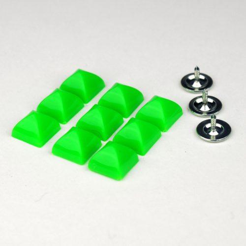 6st Studs Vierkant 10mm Fluor Groen