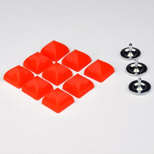 6st Studs Vierkant 10mm Fluor Oranje