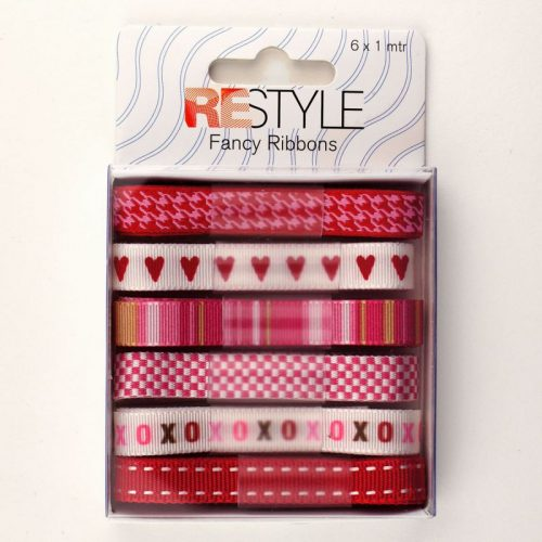 Fancy Ribbons 6x1m Rood/Rose Assortie