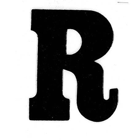 Flockletter R Zwart 3.5cm