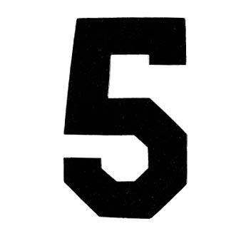 Flockcijfer 5 Zwart 6cm
