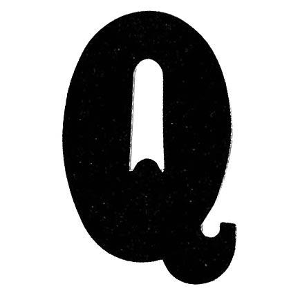 Flockletter Q Zwart 3.5cm