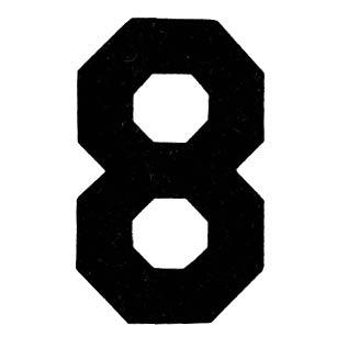 Flockcijfer 8 Zwart 6cm