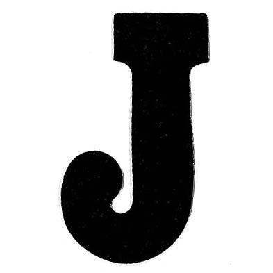 Flockletter J Zwart 3.5cm