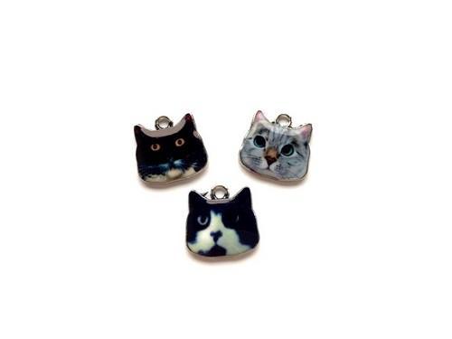 Metalen Bedels Katten Donker 3st