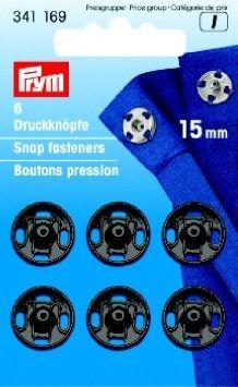 Prym I;Opnaaidrukkers Zwart 15mm 6st