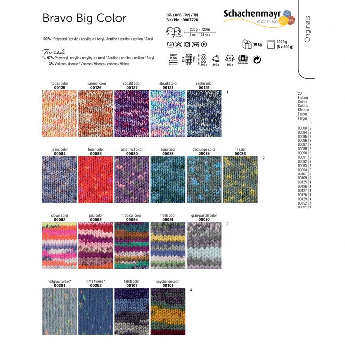 Wol;Bravo Big Color Grijs/Pastel-0090