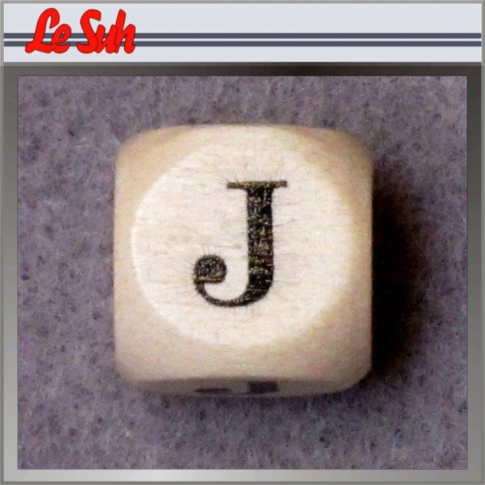 Kraal;Letter Dobbelsteen Naturel-J 10mm
