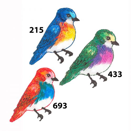 Applicatie Vogel Blauw/Oker 5cm