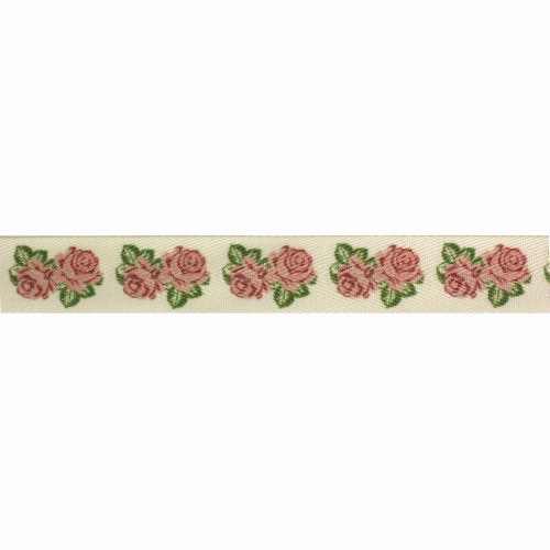 Band Printed Roses Ivoor 20mm