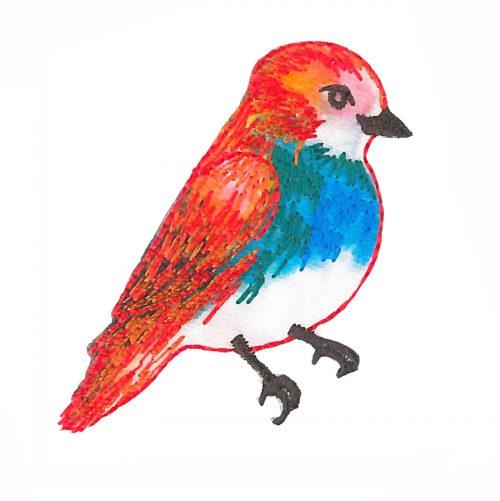 Applicatie Vogel Rood/Blauw 5cm