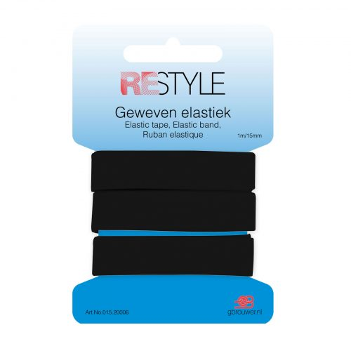 REStyle Elastiek 15mm 1m Zwart-000
