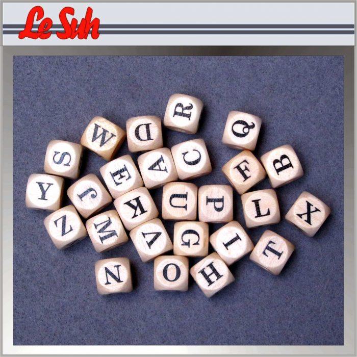 Kraal;Letter Dobbelsteen Naturel-I 10mm