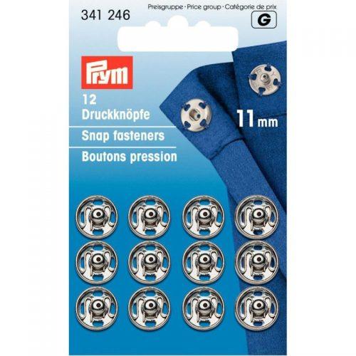 Prym G;12st Opnaaidrukker 11mm Zilver