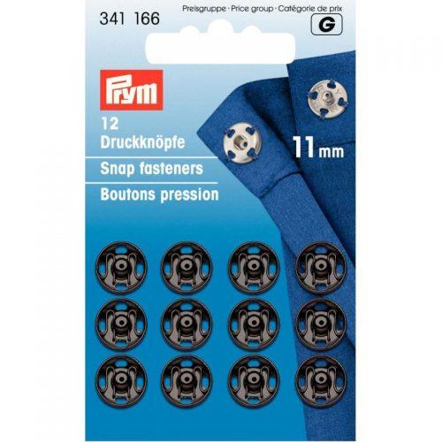 Prym G;12st Opnaaidrukker Zwart 11mm
