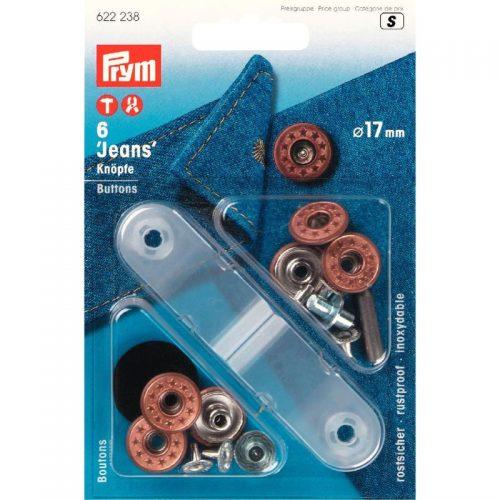 Prym S;6st Jeansknopen Ster Brons 17mm