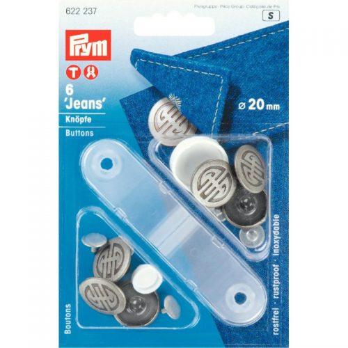 Prym S;6st Jeansknopen Modern Zilver 20mm