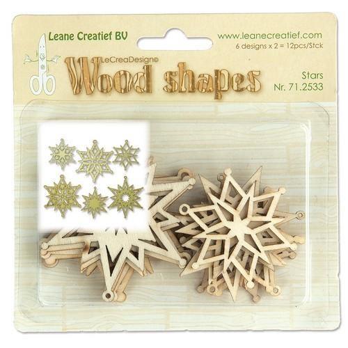 Wood Shapes Stars 6x2st