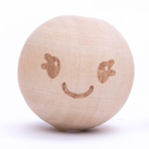 CD Kraal Hout Smiley Lachend 20mm