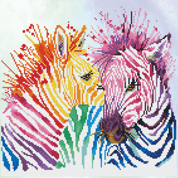 D.Dotz Rainbow Zebras 40x40cm