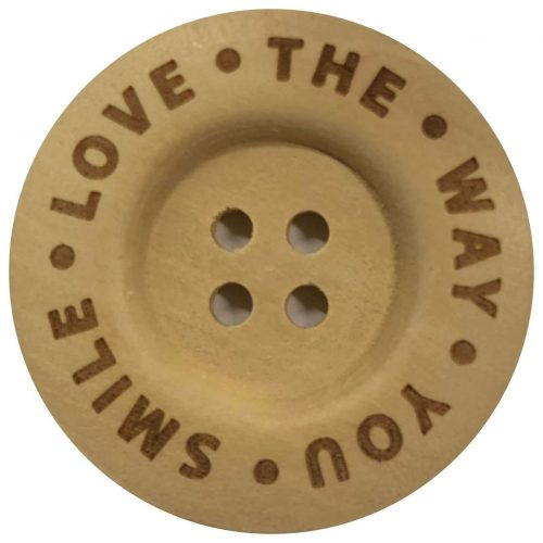 2st Knoop Hout Love the way you Smile 40mm